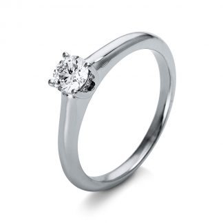 18 kt  solitaire with side stones with 5 diamonds 1O257WP855-1