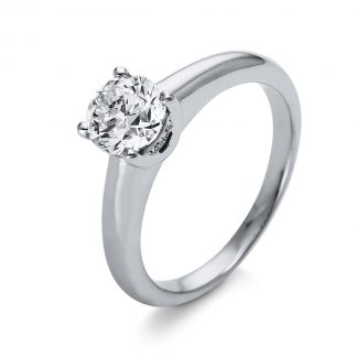 18 kt  solitaire with side stones with 5 diamonds 1O259WP855-1