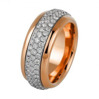 18 kt vörös arany / fehérarany forgatható gyűrű 129 gyémánttal 1A763RW856-1