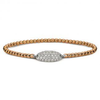 18 kt vörös arany / fehérarany karkötő 37 gyémánttal 5A018RW8-1