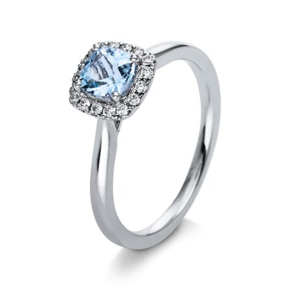 18 kt white gold color stone with 16 diamonds