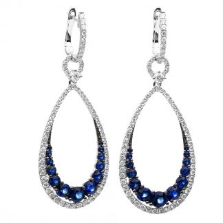 18 kt white gold earrings with 144 diamonds