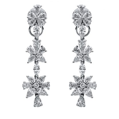 18 kt white gold earrings with 40 diamonds 2I229W8-1