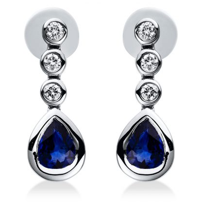 18 kt white gold earrings with 6 diamonds