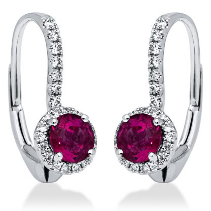 18 kt white gold earrings with 70 diamonds
