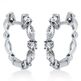 18 kt white gold hoops & huggies with 10 diamonds 2I176W8-1