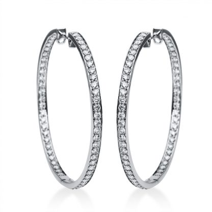 18 kt white gold hoops & huggies with 112 diamonds 2F564W8-3