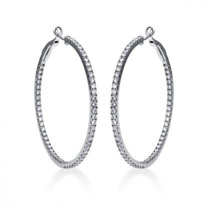 18 kt white gold hoops & huggies with 114 diamonds 2F567W8-1