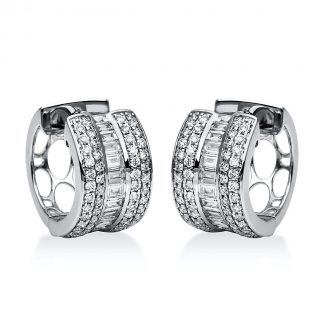 18 kt white gold hoops & huggies with 122 diamonds 2F078W8-2