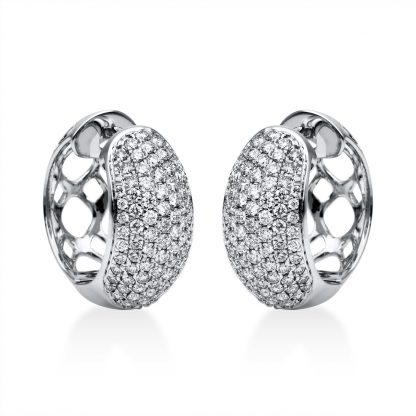 18 kt white gold hoops & huggies with 164 diamonds 2F565W8-1