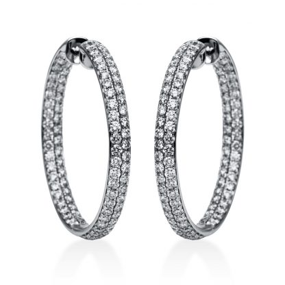 18 kt white gold hoops & huggies with 176 diamonds 2F079W8-1