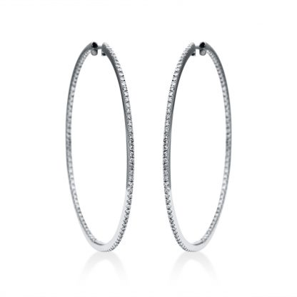 18 kt white gold hoops & huggies with 196 diamonds 2F486W8-1
