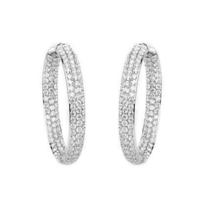 18 kt white gold hoops & huggies with 256 diamonds 2B158W8-4