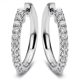 18 kt white gold hoops & huggies with 26 diamonds 2A384W8-3