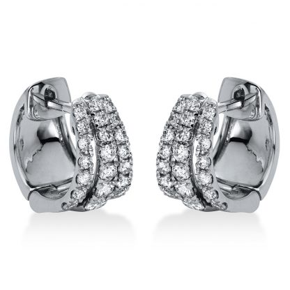 18 kt white gold hoops & huggies with 42 diamonds 2H959W8-1