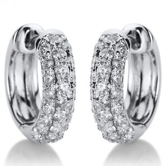 18 kt white gold hoops & huggies with 50 diamonds 2A039W8-7