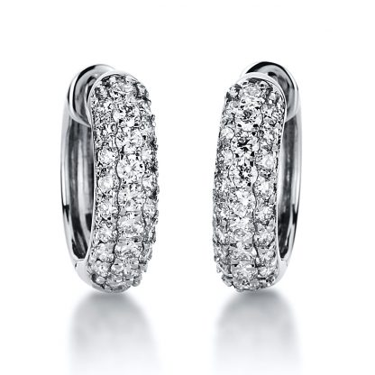 18 kt white gold hoops & huggies with 50 diamonds 2A042W8-4