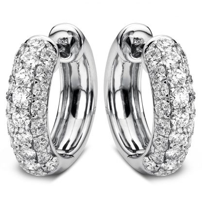 18 kt white gold hoops & huggies with 50 diamonds 2A067W8-2