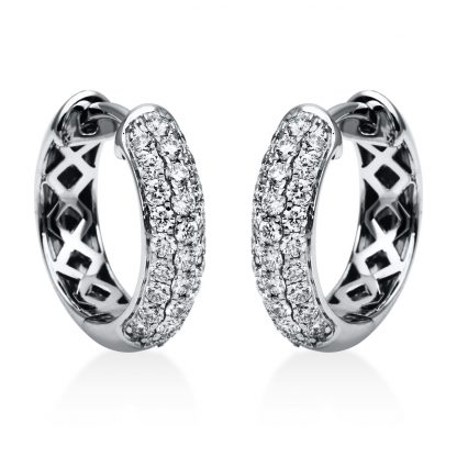 18 kt white gold hoops & huggies with 56 diamonds 2A065W8-2