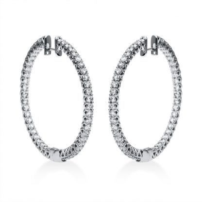 18 kt white gold hoops & huggies with 92 diamonds 2F277W8-1