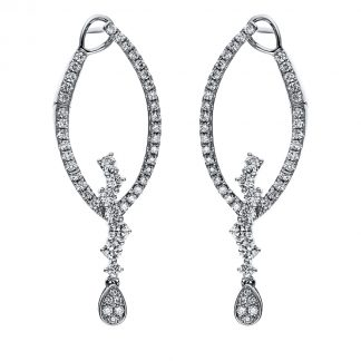 18 kt white gold hoops & huggies with 94 diamonds 2H334W8-1