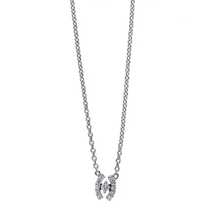 18 kt white gold necklace with 11 diamonds 4E604W8-1