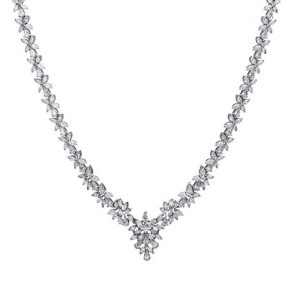 18 kt white gold necklace with 152 diamonds 4E565W8-2