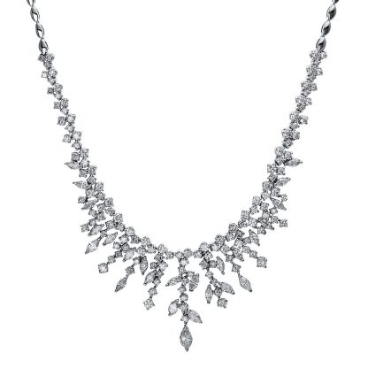 18 kt white gold necklace with 157 diamonds 4E653W8-1