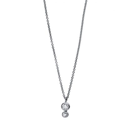 18 kt white gold necklace with 2 diamonds 4E502W8-1