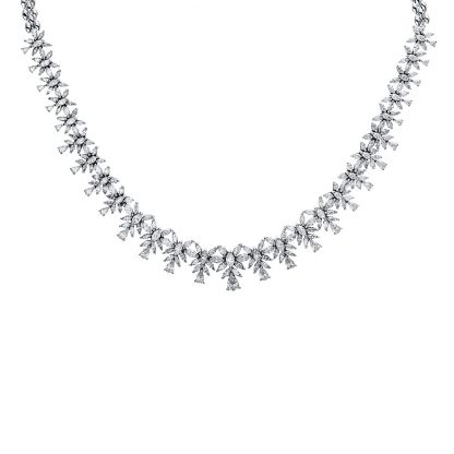 18 kt white gold necklace with 224 diamonds 4E571W8-1