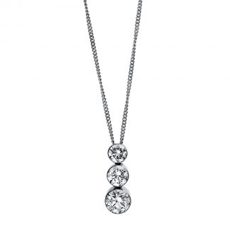 18 kt white gold necklace with 3 diamonds 4D378W8-2
