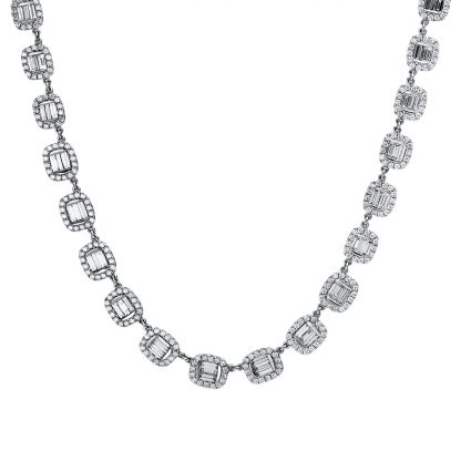 18 kt white gold necklace with 615 diamonds 4E724W8-1