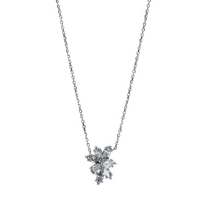 18 kt white gold necklace with 7 diamonds 4E347W8-1