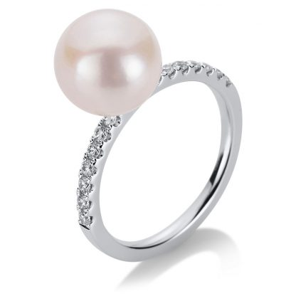 18 kt white gold pearl with 14 diamonds
