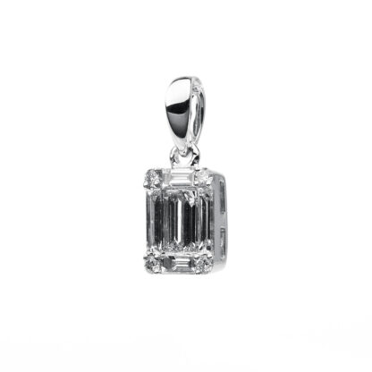 18 kt white gold pendant with 10 diamonds 3B461W8-3