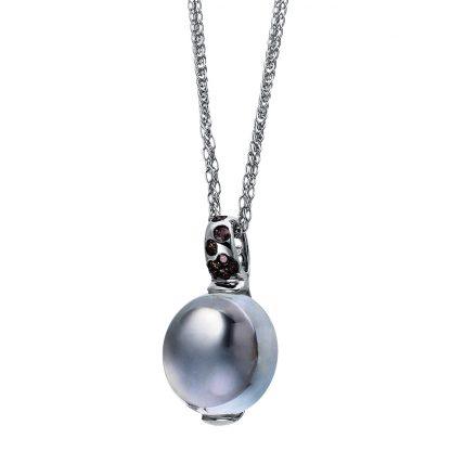 18 kt white gold pendant with 8 diamonds