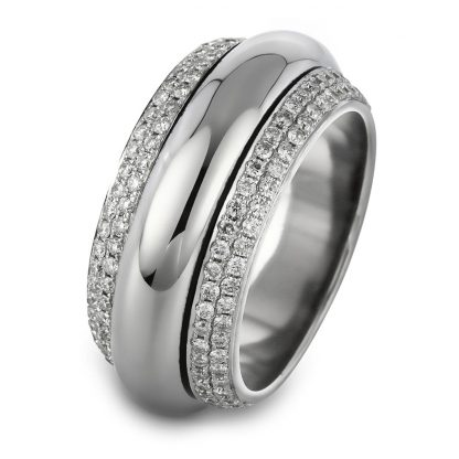18 kt white gold rotatable ring with 193 diamonds 1A716W854-1