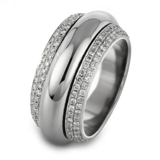18 kt white gold rotatable ring with 204 diamonds 1A716W856-1