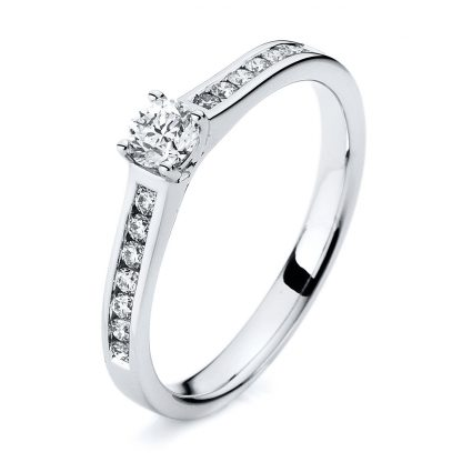 18 kt white gold solitaire with side stones with 15 diamonds 1A187W853-4