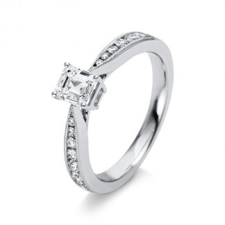 18 kt white gold solitaire with side stones with 15 diamonds 1M268W854-2