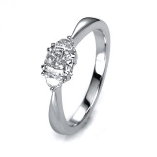 18 kt white gold solitaire with side stones with 3 diamonds 1A158W854-3