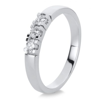 18 kt white gold solitaire with side stones with 3 diamonds 1A341W854-1