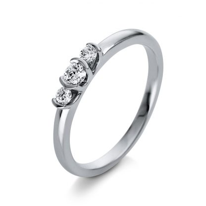 18 kt white gold solitaire with side stones with 3 diamonds 1Q434W853-1
