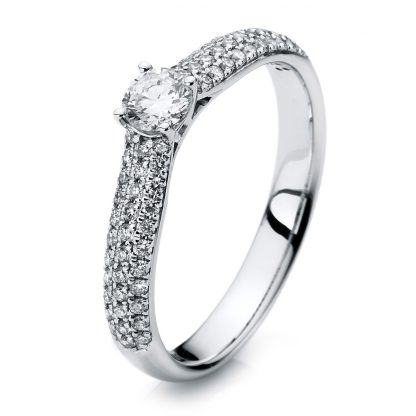 18 kt white gold solitaire with side stones with 67 diamonds 1A418W854-2