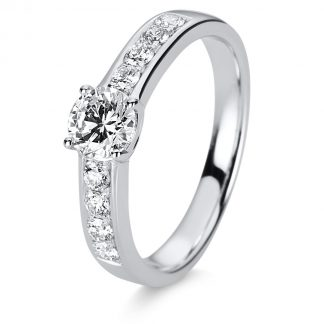 18 kt white gold solitaire with side stones with 9 diamonds 1C875W853-1