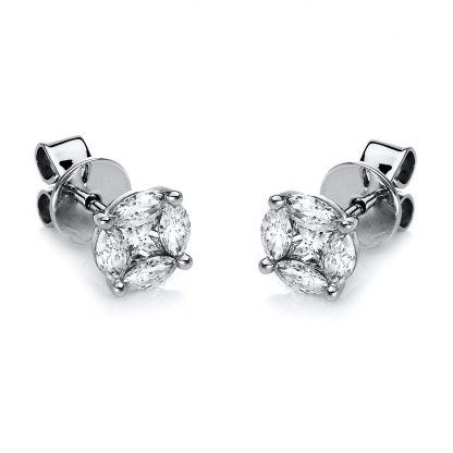 18 kt white gold studs with 10 diamonds 2E275W8-1