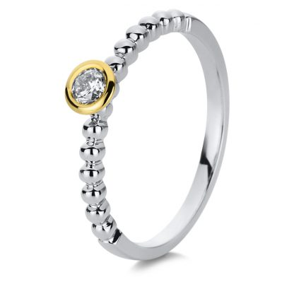 18 kt white gold / yellow gold solitaire with 1 diamond 1B724WG854-1