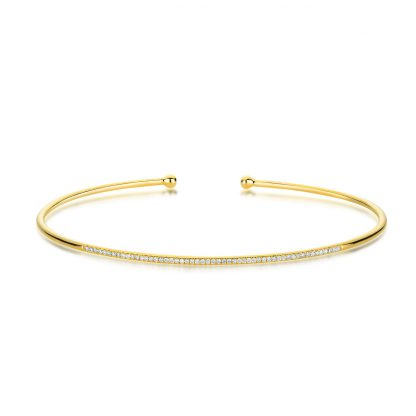 18 kt yellow gold bangle with 53 diamonds 6A008G8-6