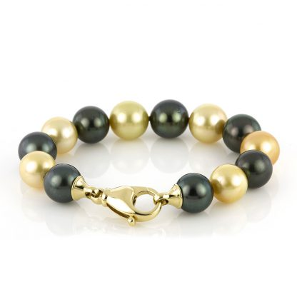 18 kt yellow gold bracelet with 13 pearls 5A043G8-1