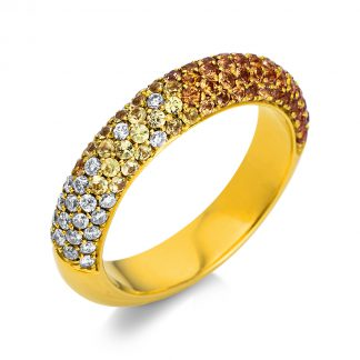 18 kt yellow gold color stone with 27 diamonds